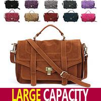Free Shipping Fashion Star Women's Handbag Jessica Skin Scrub Briefcase Messenger Bag PU Suede Leather Emma Roberts Satchel