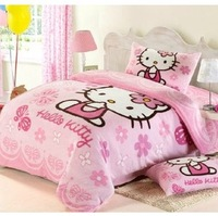 Hello kitty bedding set mickey and minnie bedding coral fleece bedding sets minnie mouse bedclothes bed set linen cover sheet