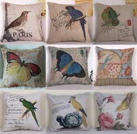 """Free shipping high quality linen vintage  cushion cover/pillow cover/pillow case  """" Bird/Butterfly/parrot""""45*45cm"""