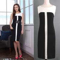 2014 SPRING SUMMER 5xl Plus Size Women Slim Elegant Patchwork Sleeveless Casual Dress Business Dresses Black 2XL XXXL XXXXL 5XL