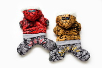 DOG'S LIFE --RED/YELLOW---High Quality Fashion Dog Pet Clothes Dog Snowsuit Jumpsuit Warm Winter Hoodies