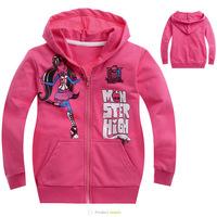 New 2014 Autumn Winter Clothing Monster High Fashion Girls Clothes Baby Children Hoodies Children girl outerwear Original FA014