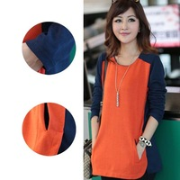 2014 Street Fashion Maternity Cotton Lady T-shirt Large Size L-4XL Orange Loose Women Bottoming Tees Casual Tops