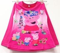 2014 new autumn long sleeve peppa pig girls boys cartoon baby  top cotton kids  t shirt children wear george pig flower t shirt