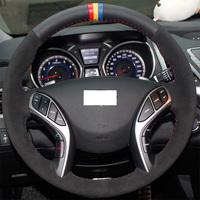 XuJi Black Genuine Leather Suede Steering Wheel Cover for Hyundai Elantra 2011 2012 2013 2014 Hyundai Avante I30