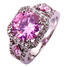 Wholesale Hot Sales 504R Round Cut Pink & White Sapphire 925 Silver Ring Size 7 8 9 10 Free Shipping