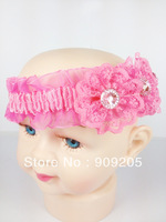 Free shipping 2colors  baby hair accessories,girls  flower headband,infant hair weave,  6pcs/lot