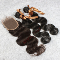 100% queen hair with closure 2pcs lot Peruvian virgin human hair weave with lace closure Factory Outlet!