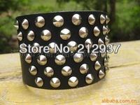 Fashion European Rivet Genuine Leather Bracelet big wide leather cool casual bracelet for men and women KL0035