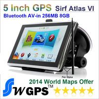 Best Price 5 inch Car gps with bluetooth AV IN 256M RAM 8GBGPS Navigation Sirf Altas VI 800MHZ-CPU FM transmitter Free world map
