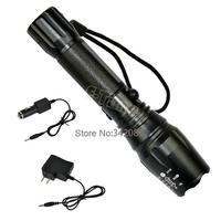 6 pcs/Lot 1000 Lumen CREE T6 LED Flashlight Torch Sets Zoomable Light Lamp 12W  5 Mode Black Wholesale B2 TK0151