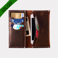 Handmade leather genuine leather phone cover male genuine leather wallet long design crazy horse leather wallet