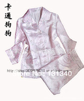 Free shipping Pajamas, faux silk sleep set long sleeve and long pants 2pcs/ 2 - 12years autumn-summer children nightwear sets