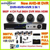 HD 900TVL IR CUT 4CH Full 960H 1080P HDMI H.264 Hybrid Cloud Network CCTV DVR Kit Security Camera Surveillance Video System