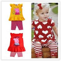 [ Bear Leader ] 1pcs Retail peppa pig girls suit summer set  tutu lace dress+pant  one piece retail christmas rose fashion 2014