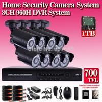 8ch CCTV System 700TVLHome  CCTV Camera DVR Kit 1080P HDMI  FULL 960H CCTV DVR Recorder 8ch Night VIsion Waterproof x 8