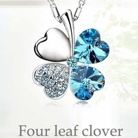 four Leaf Clover  cord necklace / short / Olympic drill champagne