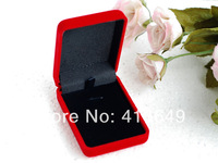Free shipping Wholesale 20pcs/Lot 7.5x5.5x2.5cm Red Color Fashion Velvet Jewelry Ring/ Earring Gift Packaging Display Box Case