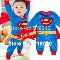 Baby Boy Romper Superman Long Sleeve with Smock Infant Cartoon Halloween Christmas Costume Gift Children Kids Autumn Free Ship