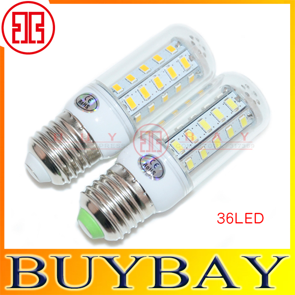 New arrival E27 led light SMD 5730 E27 led bulb, 36LED 12W 5730smd LED lamp Warm white /white 5730 candle light ,free shipping(China (Mainland))