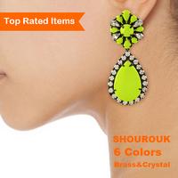 6 colors shourouk 100% crystal earrings fashion designer luxury flower women drop brass earrings dangle vintage jewelry
