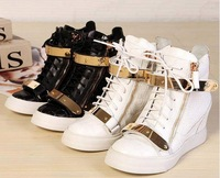 GZ Wedge Sneakers Goldtone Hardware White Black Crocodile Spring 2014 Autumn Ankle Boots Hight Top Women Lace Up Leisure Shoes