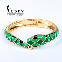 (Min order is $15) New Arrival Fashion Gold Plated  Alloy Bangle Snake Model Design Painting Jewelry  for Women BR-03115