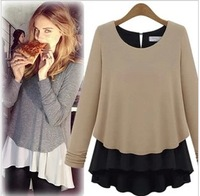2014 Free Shipping New fashion EU Style Full Pullovers Thick Chiffon Patchwork knitted Long sleeve Sweater DressLBR7131