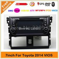 2 din car DVD GPS  for Toyota VIOS 2014 with radio Bluetooth 3G USB port Ipod steering wheel control Free map Russia Menu