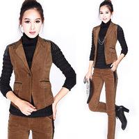 Spring 2014 Plus Size Women's Courdoroy Casual Set Female Fashion Vest Slim Casual Trousers Set