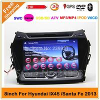 2 din Hyundai Santa Fe 2013 IX45 car dvd gps with GPS navigation Radio 3G Ipod Steelwheel control Russian menu available