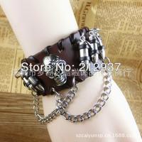 Europe personality leather skull bullet bracelet high quality fashion leather bracelet KL0048