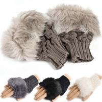 2014 Winter New Fashion Women Warm Faux Fur Gloves Female Rabbit Hair Knitted Thicken Fingerless Mittens