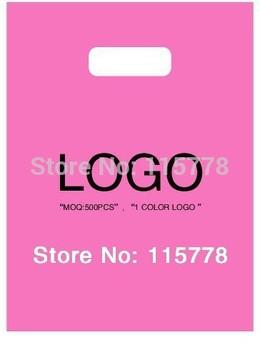 35*45cm (13.8' *17.7')  custom logo bags/ plastic packing bags with logo /handle cloting bags print logo