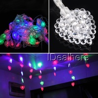 New!! Promotion Free shipping 4m Heart Shape 60LED Curtain Lights for Wedding Christmas Party Decoration