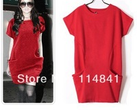Autumn Winter Women's woolen Dress Sweaters Casual Pocket Jersey Dresses For Women M L XL SS008
