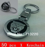 50pcs Free Logo Print Service Personalized Car Keychain Metal  Silver Stereo Male Business Gifts