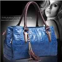 Fashion female genuine leather cowhide handbag 2013 new Fashion shoulder leather bag waxing oil messenger bag freeship