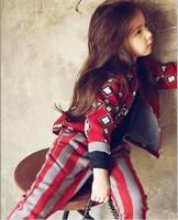 2013 new Korea brand Children's clothing spring autumn little demon 2pcs girls sets suits  jacket+striped pant clothing