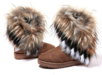 Free Shipping New High Quality Fashion Rubber soles Warm Long Artificial Fox Snow Boots Women(Color:Black,Coffee,Green)