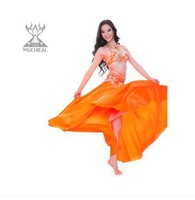 New 2014 Upscale Sexy100% Polyester 3 Pcs (Bra&Belt&Skirt)  Belly Dance Costume, 6 Colors TP2119+TP1015