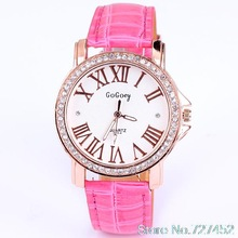 Hot sales and free shipping quartz dress watch women fashion diamond watches roman number leather fashion jewelry gift