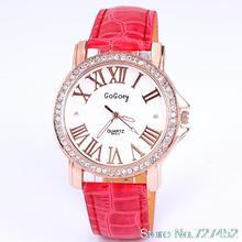 Hot sales and free shipping quartz dress watch women fashion diamond watches roman number leather fashion
