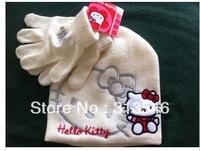 Free shipping 6sets/ lot children winter caps +glove  kids hello kitty warm cap+glove 2pcs set  cartoon winter hat+glove
