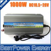 Free Shipping, NEW!! 10.5~28V DC to AC110V/220V Pure Sine Wave Solar Inverter 1000W 1KW Solar Grid Tie Micro Inverter