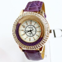 Free shipping New 2013 Fashion Luxury Brand Diamonds Big Dial leather strap women rhinestone watches