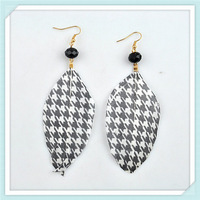 2013 Newest Print Feather Earring  Silver Plated Fashion Drop Long Earrings for Women wholesale