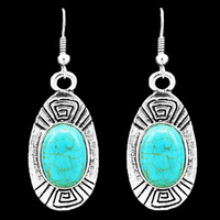 Retro Craft Tibetan Alloy Antique Silver Plated  Longevity Oval Turquoise Earrings TE18