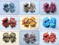 "4-4.5"" MIX colors children accessories  butterfly kids Multilayer ribbon Leopard Zebra clip Children's hair hairband headband"