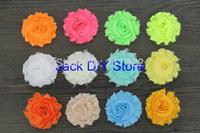 "free shipping 50pcs/lot 32colors 2.5""shabby chiffon rose ,chiffon frayed flowers,hair accessories"